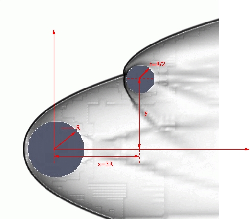 Computational schlieren image of two spheres in a Mach 10 freestream