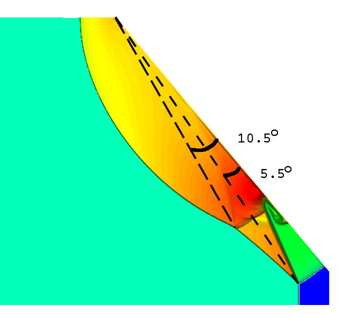 Mach 6 shock entering a cone with 50degree half-angle